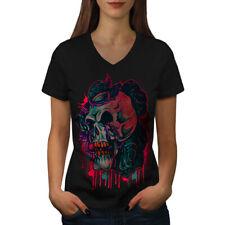 Death Metal Biker Skull Women V-Neck T-shirt NEW | Wellcoda