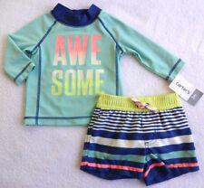 NWT Carter's Baby Boys Rashguard & Swim Trunks Set(Size Newborn,  6 Months) NEW