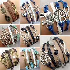 AB03 Unisex Damen Herren Armband Vintage Infinity Freundschaft Love Anker Perle