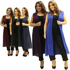 New Ladies Plus Size Curve Sleeveless Chiffon Maxi Waist coat 16-26