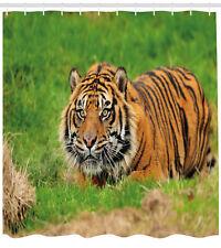 Tiger Shower Curtain Sumatran Feline Ambush Print for Bathroom
