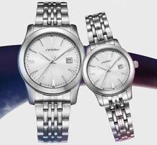 SINOBI relojes de pulsera de Cuarzo Correa de Acero Inoxidable De Plata guapo calendario 30 M