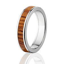Honduras wood Inlay in Titanium Ring, Exotic Hard Wood Wedding Band , Wood rings