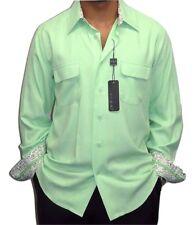 Men's TULLIANO Shirt  Soft FUJI SILK Long Sleeves I-694 Apple Green Spring Sale