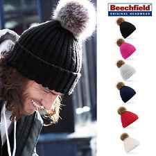 Beechfield Unisex Faux Fur Pom Pom Chunky Beanie Hat-Knitted Bobble Woolly Cap