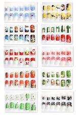 24x Nagel Tips mit Klebepads 10 Modelle Weihnachten X-Mas Christmas #KP-B8005