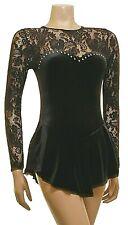 Skating Dress Black Lace/Black Smooth Velvet L/S (S118)