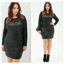 Forever 21 Plus Size Black sequin Mesh Bodycon Zipper Party Dress XL1X2X3X