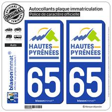 2 Stickers autocollant plaque immatriculation : 65 Hautes-Pyrénées Département