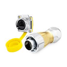 IP67 Jack 8Pin Industrial Waterproof M24 RJ45 Connector Ethernet Plug Socket+Cap