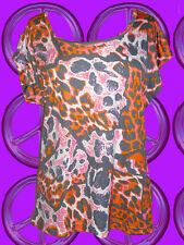 311✪  80er Jahre Vintage Leo Top Shirt Neon Nu Wave Shoez NDW grau orange pink