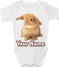 BUNNY RABBIT PERSONALISED BABY VEST / GRO /BODYSUIT *GREAT GIFT & NAMED TOO*