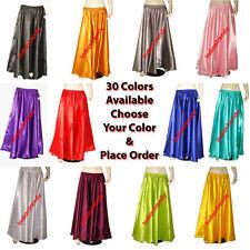 Satin Maxi Skirt 4-5 Yard Belly Dance Tribal Half Circle Jupe Robe Gypsy Women
