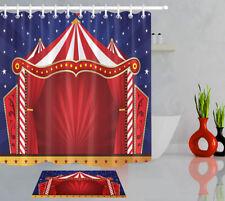 Cartoon Style Circus Background Bathroom Waterproof Fabric Shower Curtain Set