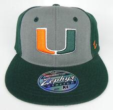 "MIAMI HURRICANES THE ""U"" NCAA FLEX-FIT 2-TONE CAP HAT ADULT Z-FIT SIZES NWT!"