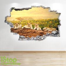 Lion Cubs Autocollant Mural 3D LOOK - chambre salon TIGRE NATURE Z134