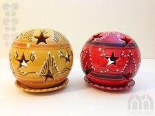 Windlicht Kugel Ø 15cm mit Sternen handbemalt Keramik, orientalisch, Handarbeit