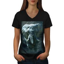 Enorme Elefante Caminar Mujeres Escote en V Camiseta Nuevo | wellcoda