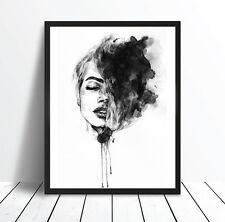Dreamer Watercolour Monochrome Print Poster Canvas Scandi Black White (pint)