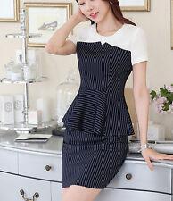 élégant Suit set black dress pinstriped white sheath dress woman skirt 7125