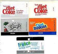 Coca-Cola Machine Tabs  Diet Coke(2),  Barq's, Diet Suncrest & Freca