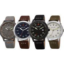 Men's August Steiner AS8272 Quartz Grooved Bezel Pilot Style Leather Strap watch