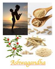 Ashwagandha Root Capsules Indian Ginseng 100% Organic Pure All Natural