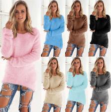 Damen Rundhals Pullover Pulli Strick Tunika Sweatshirt Bluse Langtops Hemd 36-44