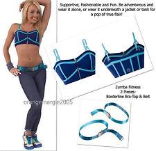 ZUMBA 2Pc.Set! Borderline Sports BRA Top & Coordinating Belt -Elite ZWear/Rare S
