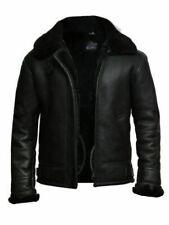 Black B3 RAF Flying Aviator Sheep Shearling Bomber Real Leather Jacket For Men