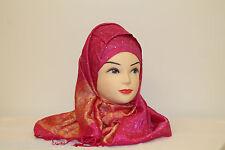 Da Donna Splendido Lucido Paillettes Floreali Pashmina Sciarpa Con Frange Hijab
