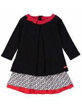 Deux Par Deux Little Gilrs Black Dress Textured Jersey Milano Sizes 4, 5 NWT