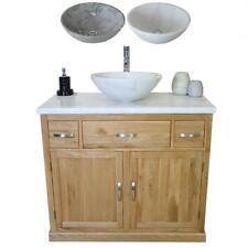 Bathroom Vanity Unit Oak Cabinet Wash Stand White Marble Top & Stone Basin 1161