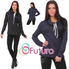 Ladies Long Sleeve Casual Cowl Neck Drawstring Pullover Jumper Sweatshirt FZ82