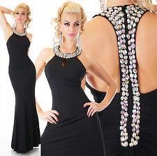 elegante Sexy Noche Maxi Baile Festivo Vestido Negro Estrás Encaje 34/36 38/40