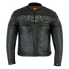 Men's Scooter Jacket with Reflective Skulls Motorcycle Jacket Daniel Smart DS700