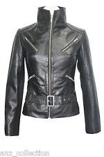 Deluxe 7390 Ladies Black Belt Waist length Biker Designer Real Leather Jacket