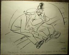 Dessin Humoristique Original CARICATURE Hommes JULIEN PAVIL c.1940 #5