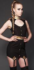 Lip Service Steampunk Goth Military Black/Gold Garter Tunic Dress