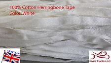 6mm Herringbone Bianco 100% Tela Di Cotone cinghia in tessuto nastro cucire