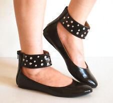 Ankle Strap Bootie Gladiator Ballet Flats Stones Black