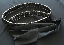 Women`s Sliver Metal Ring Belt Long Black Cloth Weaved Through Rings Tie Around