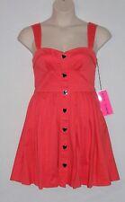 NWT $128 BETSEY JOHNSON Sleeveless Heart-Button A-Line Dress, Sizes 8 10, Melon