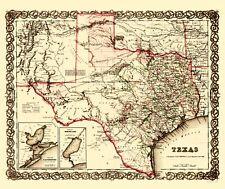 Old State Map - Texas, Galveston Bay, Sabine Lake Plans - Colton 1858 - 23 x 27