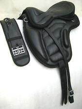 Treeless cow softy leather Saddles black size + Matching Girth, 6 sizes