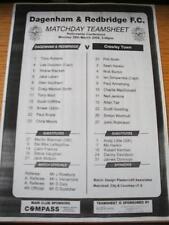 28/03/2005 Teamsheet: Dagenham And Redbridge v Crawley Town  . No obvious faults