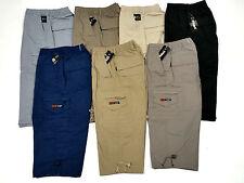 Mens Lightweight Summer Combat Cargo Elasticated Waist 3/4 Shorts Trouser size