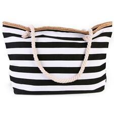 Large Wide Canvas Fashion Tote Bag-Beach Bag-Travel Picnic Gym White Stripes