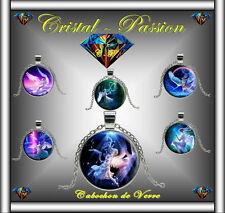 Collier cabochon verre pendentif fée fées anges ange argenté 25mm