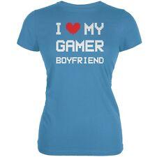 I Heart Love My Gamer Boyfriend Aqua Juniors Soft T-Shirt
